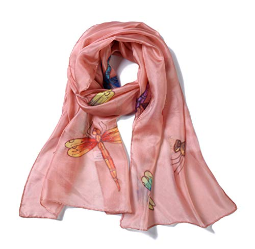 Invisible World Women's 100% Mulberry Silk Scarf Hand Painted Dragonfly - Wrap Silk Painted Hand