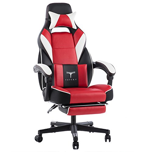 TOPSKY High Back Racing Style PU Leather Executive Computer Gaming Office Chair Ergonomic Reclining Design with Lumbar Cushion Footrest and Headrest (New Black&red)