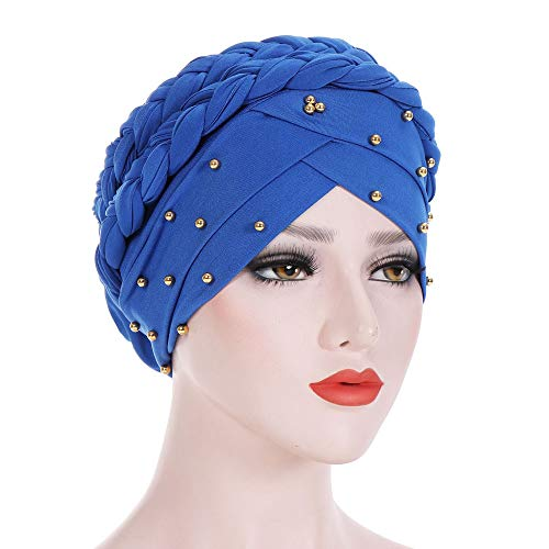 CHIDY Women Beading India Hat Muslim Ruffle Beanie Scarf Turban Wrap Cap Twisted Beaded Beads Accessory Hat -