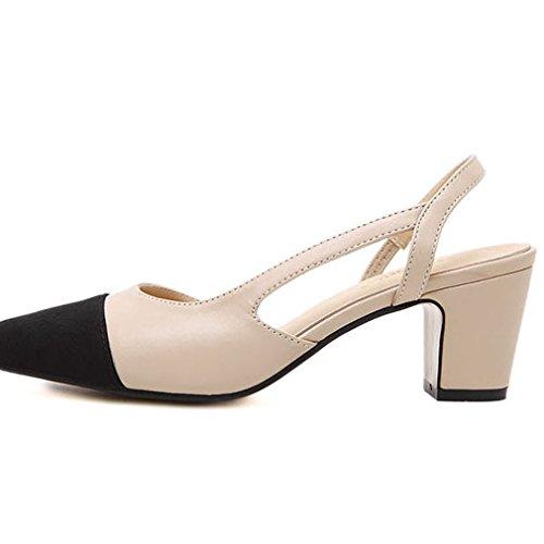Xianshu Sandalias con Albaricoque Cabeza Sintético Color de 36 Correa Bloque Tacones de acentuada Zapatos la Mujeres Mezcla Sandalias rXAqwxHrO