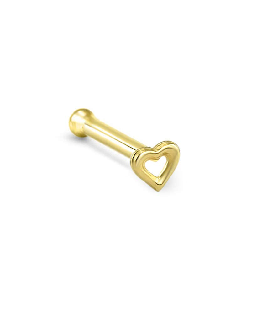 14k Solid Yellow Gold Nose Bone Ring Hollow Heart 20G
