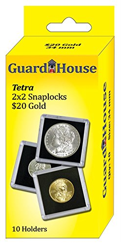 Guardhouse Tetra Snap Lock 2x2 20 Dollar Gold Coin Holder 10 pk