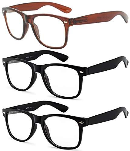 OWL - Non Prescription Glasses - Clear Lens - Brown + Black + Black (Pack of 3)