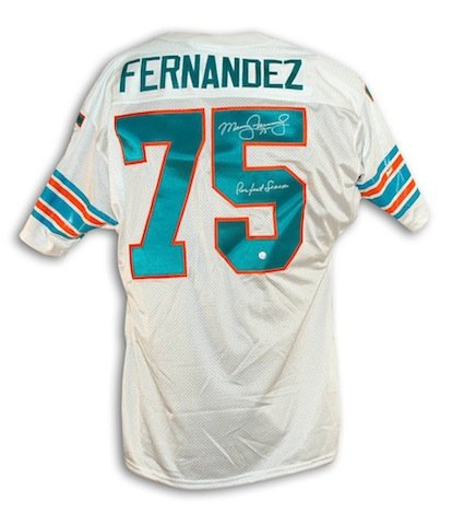 Miami Dolphins Autographed White Jersey (Autographed Manny Fernandez Miami Dolphins White Throwback Jersey Inscribed