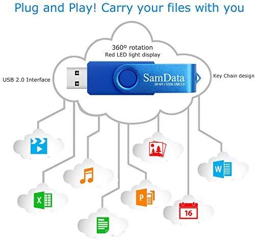SamData 32GB USB Flash Drives 2 Pack 32GB Thumb Drives Memory Stick Jump Drive with LED Light for Storage and Backup (2 Colors: Black Blue)