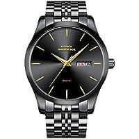 Kopeck Men's Black Quartz Movement Wrist Watch Waterproof Calendar Stainless Steel Braclet Band