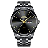 Kopeck Men's Black Quartz Movement Wrist Watch Waterproof Calendar Stainless Steel Braclet Band