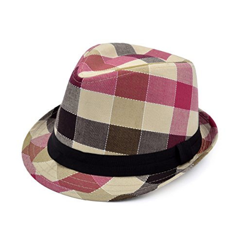 - Premium Multi Color Plaid Stitch Black Band Fedora Hat, Camel
