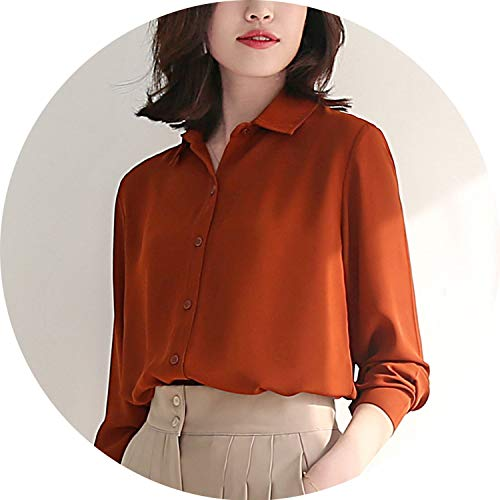 (New Women's Shirt Classic Chiffon Blouse Female Plus Size Loose Long Sleeve Casual)