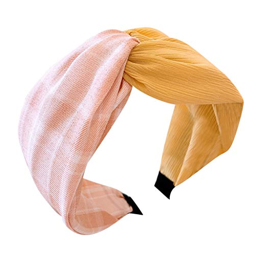 Iusun Headband Vintage Plaid Stitching Solid Knotted Wide-Brimmed Hairpin Accessory Women Sweet Girls Hair Care Jewelry Decoration Hairband (Pink)