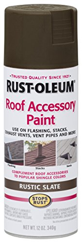 Rust-Oleum 285222 Roof Accessory Spray Paint, 12 oz, Rustic Slate/Brown