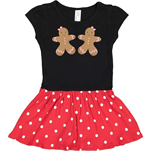 inktastic Gingerbread Girl Infant Dress 24 Months Black & Red with Polka Dots