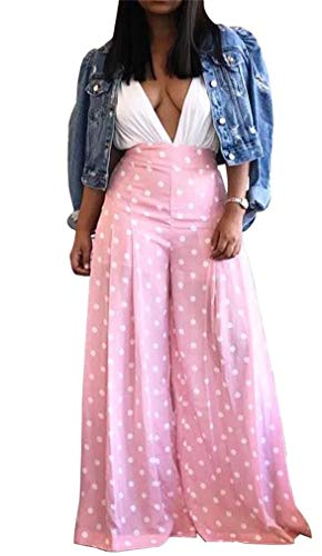 (Women's Palazzo Pants Polka Dot Print High Waist Lounge Wide Leg Flowy Long Flare Pants Trousers)