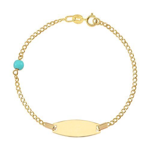 UNICORNJ Kids 14K Yellow Gold Bowed ID Bracelet Light Blue Bead Accent Curb Chain 5.5