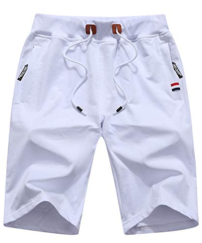 Mens Classic Fit Shorts Casual Summer Drawstring Walk Shorts White US 36