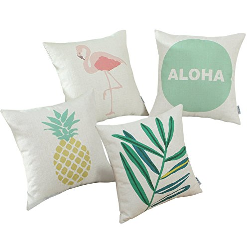 Set of 4 Euphoria CaliTime Cushion Cover Throw Pillow Shell, 18 X 18 Inches, Hawaii Style Combo Set