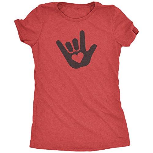 ASL I Love You Sign Language Women's Tri-Blend T-Shirt (Red Frost, (Sign Womens Cut T-shirt)