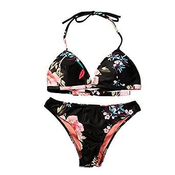 fecfbf0105 Alangbudu Women 5 Piece Floral Print Top V Style Bottom Bikini Set  Spaghetti Strap Swimsuit Blue