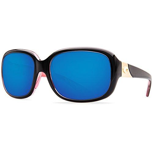 Costa Del Mar Gannet 580P Gannet, Shiny Black Hibiscus Blue Mirror, Blue Mirror