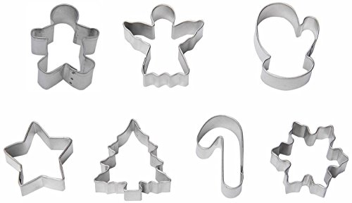 7 Piece Mini Christmas Cookie Cutter Set Snowflake Angel Candy Cane Star Mitten