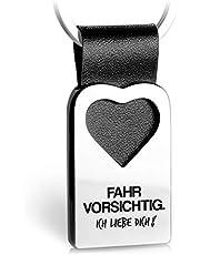 FABACH Herz Schlüsselanhänger mit Gravur aus Leder - Auto Glücksbringer Anhänger für Ihren Lieblingsmensch - Fahr vorsichtig Ich Liebe Dich