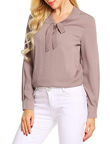 ACEVOG Women Chiffon Blouse Long Sleeve Collared Work Blouse with Tie,Champagne,XL