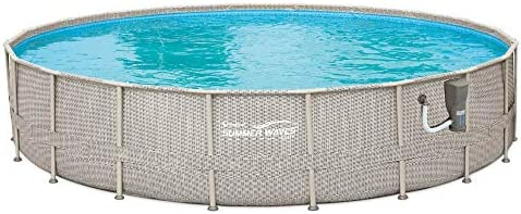 Summer Waves 20ft x 48in Above Ground Backyard Swimming Pool Set w/Ladder Cover