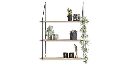 Mensole In Metallo Design.Lifa Living Mensola Da Muro Design Soggiorno Con 3 Ripiani Legno