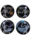 Day of The Dead Skeleton Quotes Halloween Melamine Plates- Set of 4