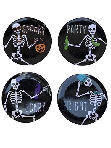 Day of The Dead Skeleton Quotes Halloween Melamine Plates- Set of 4 by Plum Nellies Treasures