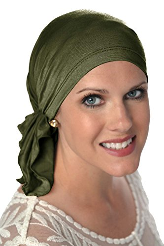 Slip-On Scarf- Caps for Women with Chemo Cancer Hair Loss Olive