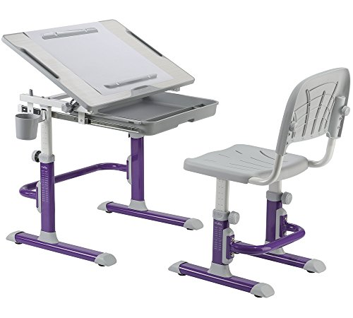 FD KARO Height Adjustable Children Desk & Chair Set, Kids Workstation for School, Kids Study Table [CUBBY series] (PURPLE) by Fun Desk