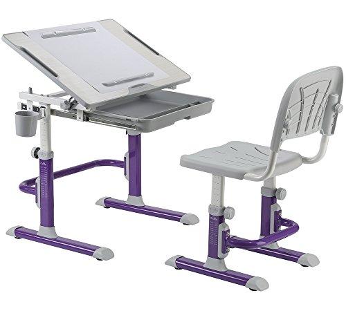 FD KARO Height Adjustable Children Desk & Chair Set, Kids Workstation for School, Kids Study Table [CUBBY series] (PURPLE) by Fun Desk