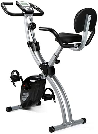 KUOKEL Folding Magnetic Upright Exercise Bike with Pulse Adjustable Resistance and Seat Height for Indoor Use Space Saving