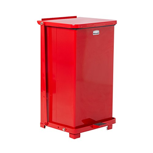 Rubbermaid Commercial FGQST12EPLRD The Silent Defenders Steel Step Trash Can, Square with Plastic Liner, 12-gallon, Red -