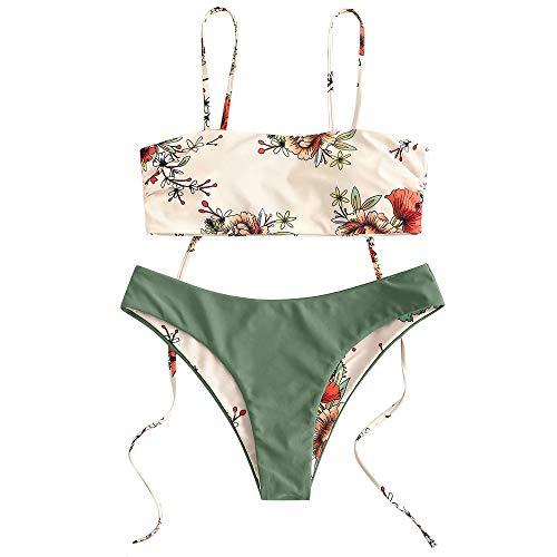 ZAFUL Women's Floral Print Tie Shoulder High Cut Reversible Cami Bikini Set (Green, M)