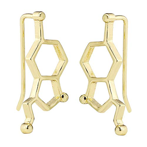 Simple Women Serotonin Molecule Shape Ear Climbers Earrings Crawler Jewelry Gift - Golden -