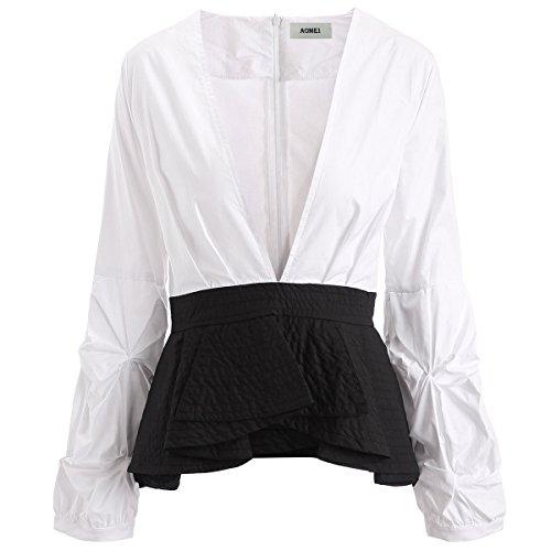 3ed08144db14b0 AOMEI Deep V Neck Sexy Puff Sleeve Top Blouses Shirts for Women Long Sleeve Peplum  Blouse