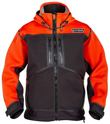 STORMR Strykr Neoprene Jacket and Bib Pants - Wind and Waterproof with Low Pile Stretch Fleece Interior – Lightweight, Warm, Comfortable, Ultra Flexibility – Thermal Welded Seams,Safety Orange,XL - Orange Pants Fisherman