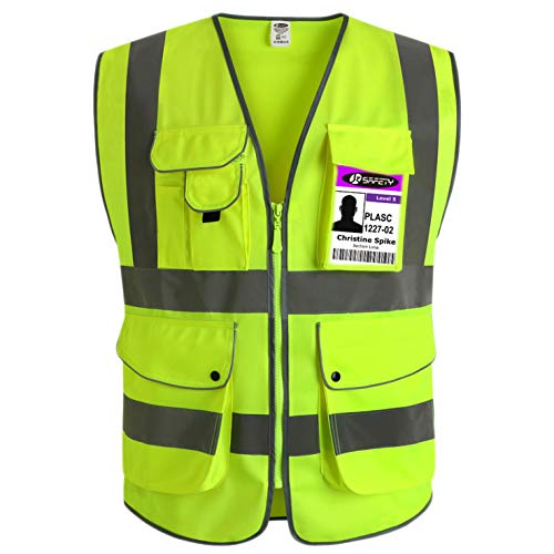 JKSafety 9 Pockets Class 2 High Visibility Zipper Front Safety Vest With Reflective Strips, Yellow Meets ANSI/ISEA Standards (Medium)