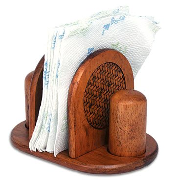Mountain Woods Rattan Napkin Holder with Salt and Pepper Set