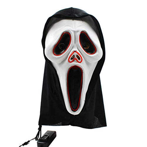 Qupida Novelty Latex Latex LED Glowing Skull Mask Full Head Halloween Party Cosplay Costume Props Accessories]()