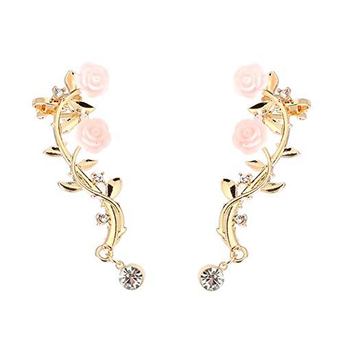 - 856store Elegant Vintage Women Rose Flower Branch Rhinestone Climber Crawler Earrings Ear Jewelry - Golden