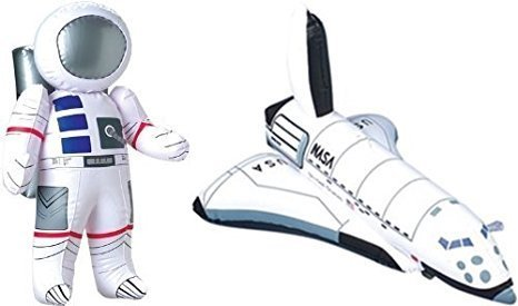 Inflatable 23'' Astronaut and 17'' Space Shuttle - 2 Pc Set - Space Party Toys and Decorations (3 PACK)