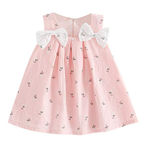 Baby Girl Clothes Summer Dress Cotton Cute Bow Casual Holiday Princess Dresses A-line Sundress (6-12 Months, Pink)