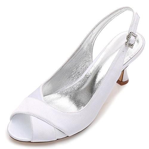 Demoiselle Jane Party L pour 8 Bridal YC Style Mariage Chaussures P17061 Satin Peep White Heel Low Fashion 3 de 16 Court Toe Chaussures d'honneur Femmes pH4rq7wpn