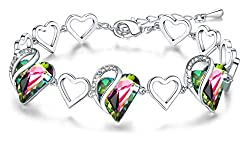 Heart Bracelet with Swarovski Crystals Birthstone Jewelry
