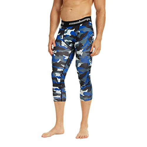 COOLOMG Men's Compression Pants 3/4 Tights Workout Running Pants Cool Dry Baselayer Leggings Camouflage_Blue Adults - Blue Material Camouflage