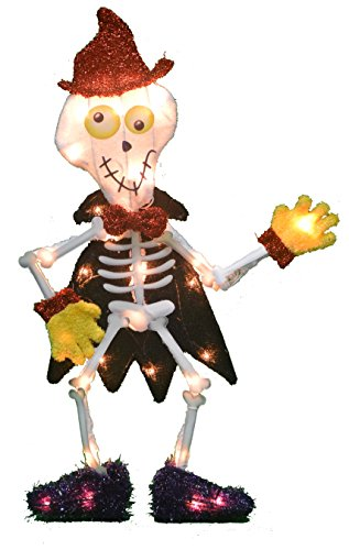 Product Works 24-Inch Pre-Lit 2D Victoria Hutto Skeleton Yard Decoration, 35 Lights]()