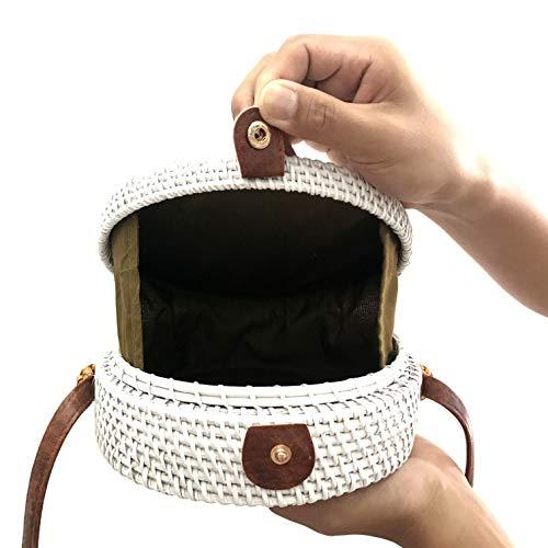 Paja Ronda Bolsa Ratán White Playa Totalizador de Hombro Verano y Crossbody Vintage Bolsos Mujeres Retro Bolso Tejer qnApUx5d